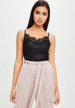 Carli Bybel x Missguided Black Lace Bodysuit