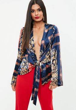 Navy Scarf Print Satin Blouse