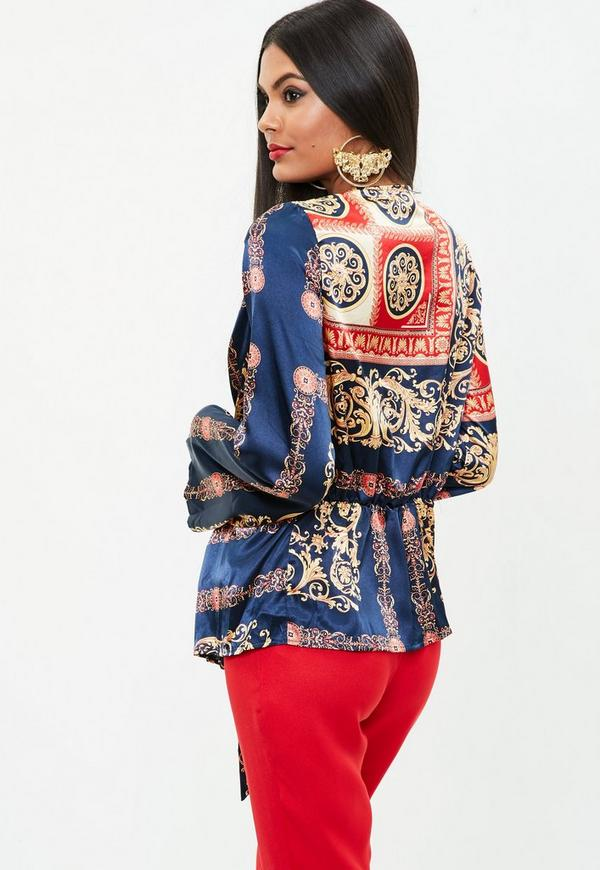 Navy Scarf Print Satin Blouse Missguided