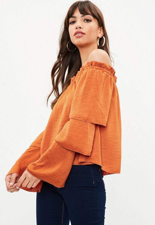 Orange Satin Tiered Sleeve Bardot Top by Missguided