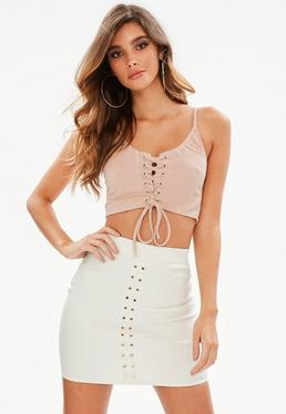 Nude Suedette Lace Up Front Bralet