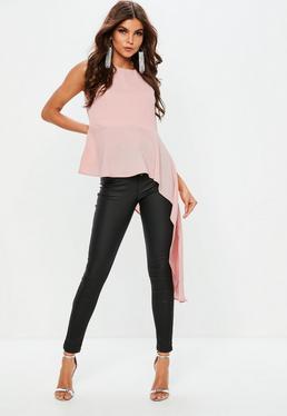 Pink Crepe Sleeveless Dip Hem Blouse