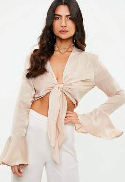 Nude Flared Sleeve Knotted Front Blouse