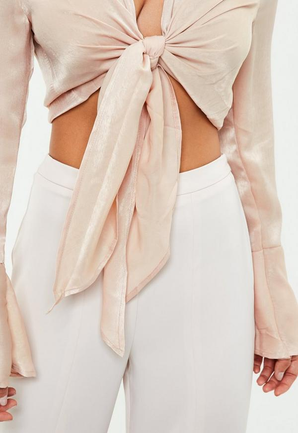 Nude Flared Sleeve Knot Front Blouse Missguided