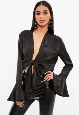 Black Flared Sleeve Knot Front Blouse