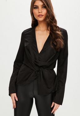 Black Suedette Drape Front Blouse