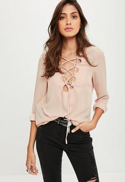 Mauve Lace Up Blouse