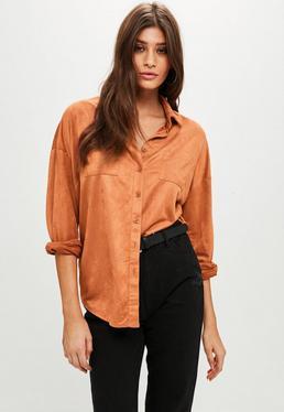 Orange Faux Suede Oversized Shirt