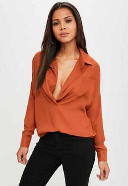 Orange Chiffon Oversized Shirt