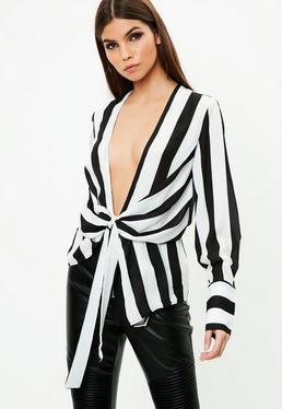 Stripe Plunge Drape Front Blouse