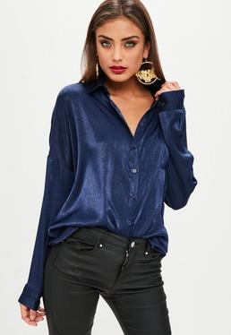 Blue Basic Satin Shirt