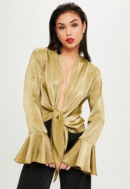 Gold Flared Sleeve Knot Front Blouse