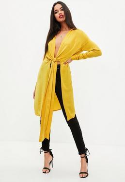 Yellow Satin Twist Front Longline Shirt