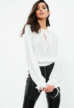 White Tie Neck Peasant Blouse