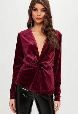 Czerwona welurowa zawijana bluzka