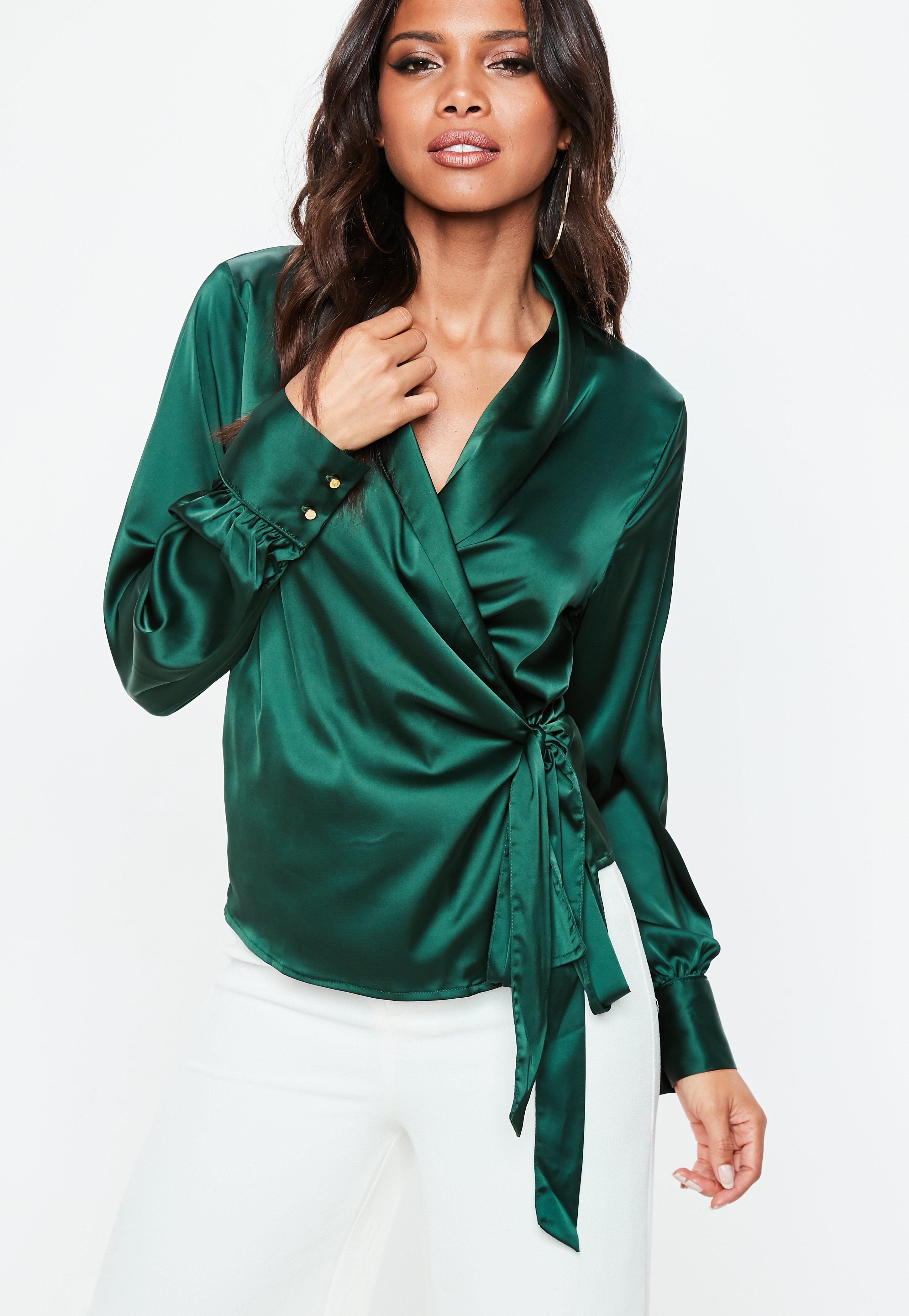 300acd3c541312 ... Women Source · Green Satin Deep Cuff Tie Waist Plunge Blouse Missguided