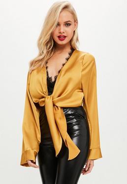 Mustard Yellow Satin Tie Front Lace Trim Crop Top