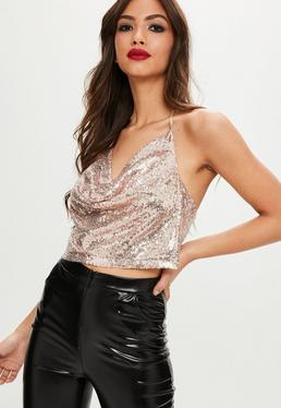 Gold Sequin Cowl Top