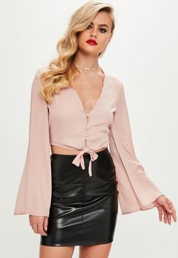 Pink Button Detail Tie Front Crop Top