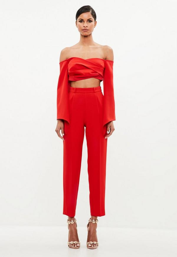Peace + Love Red Bardot Crepe Wrap Top by Missguided