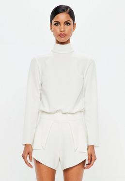 Peace + Love White Crepe Long Sleeve Open Back Bodysuit