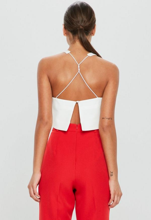 Peace + Love White Strap Detail Crop Top by Missguided