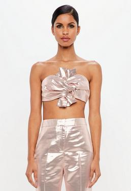 Peace + Love Pink Metallic Bow Detail Crop Top
