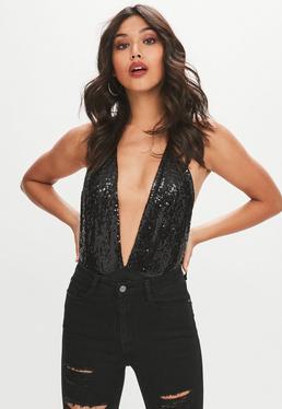 Black Sequin Plunge Bodysuit