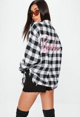 Barbie x Missguided Black & White Plaid Shirt