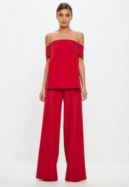 Peace + Love Red Bardot Crepe Top