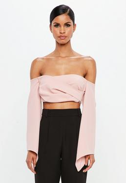 Peace + Love Pink Bardot Crepe Wrap Top