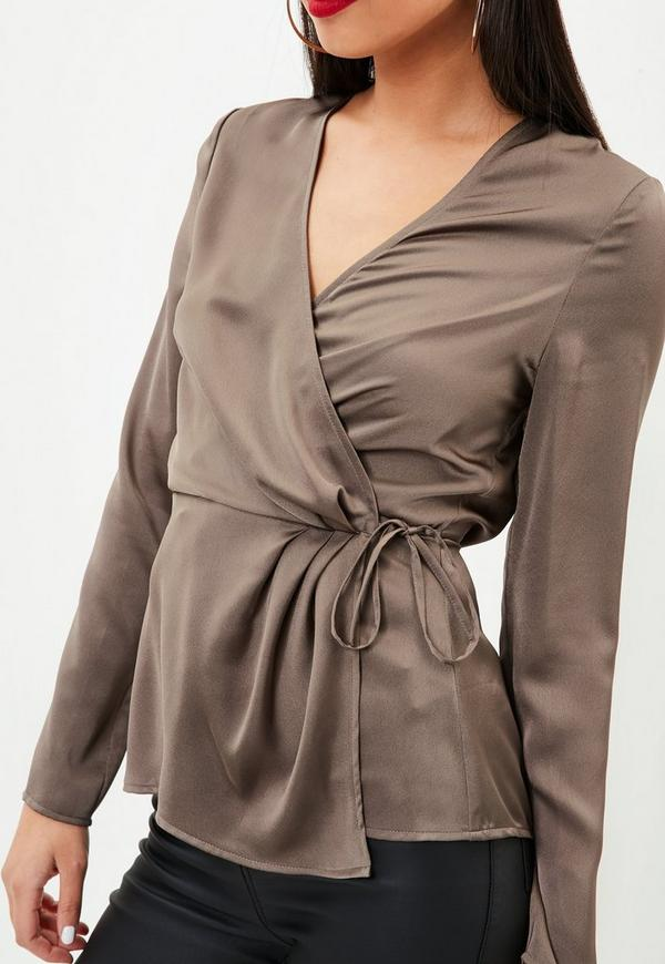 Brown Satin Wrap Tie Side Blouse Missguided