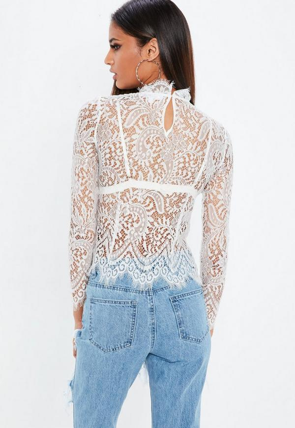 688ec58ccc00 at ASOS Vila High Neck Long Sleeve Top Source · White Lace High Neck Tops  Labzada Blouse