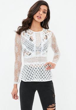 White Lace Paneled Waist Blouse