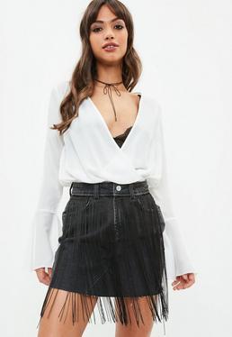 Biała szyfonowa zawijana bluzka