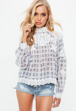 Grey Crochet High Neck Checked Blouse