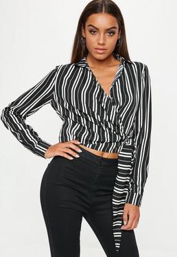 Black Stripe Long Sleeve Tie Front Blouse