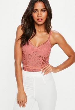 Pink Sport Tape Corded Lace Bodysuit