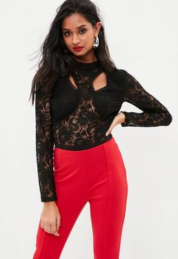Black Lace Cut Out High Neck Bodysuit