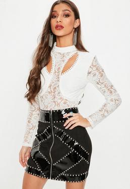 White Cut Out High Neck Lace Bodysuit