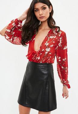 Red Floral Tie Front Split Sleeve Bodysuit