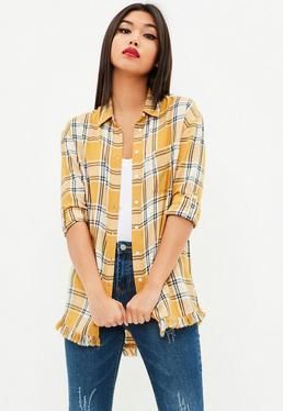Yellow Oversized Distressed Hem Shirt