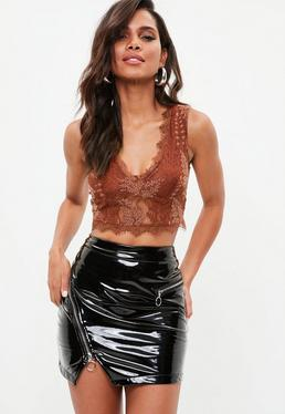 Brown Lace Underwired Crop Top