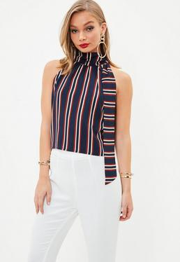 Navy Tie Halter Neck Stripe Crop Top