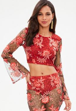Red Oriental Embroidery Lace Flare Sleeve Crop Top