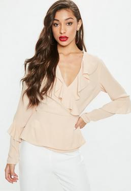 Nude Ruffle Tie Front Frill Blouse