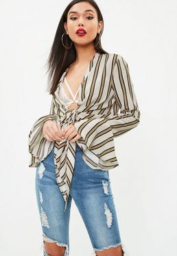 Beige Striped Fluted Sleeve Blouse