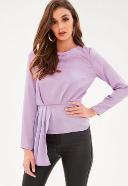 Purple Long Sleeve Tier Drape Front Blouse