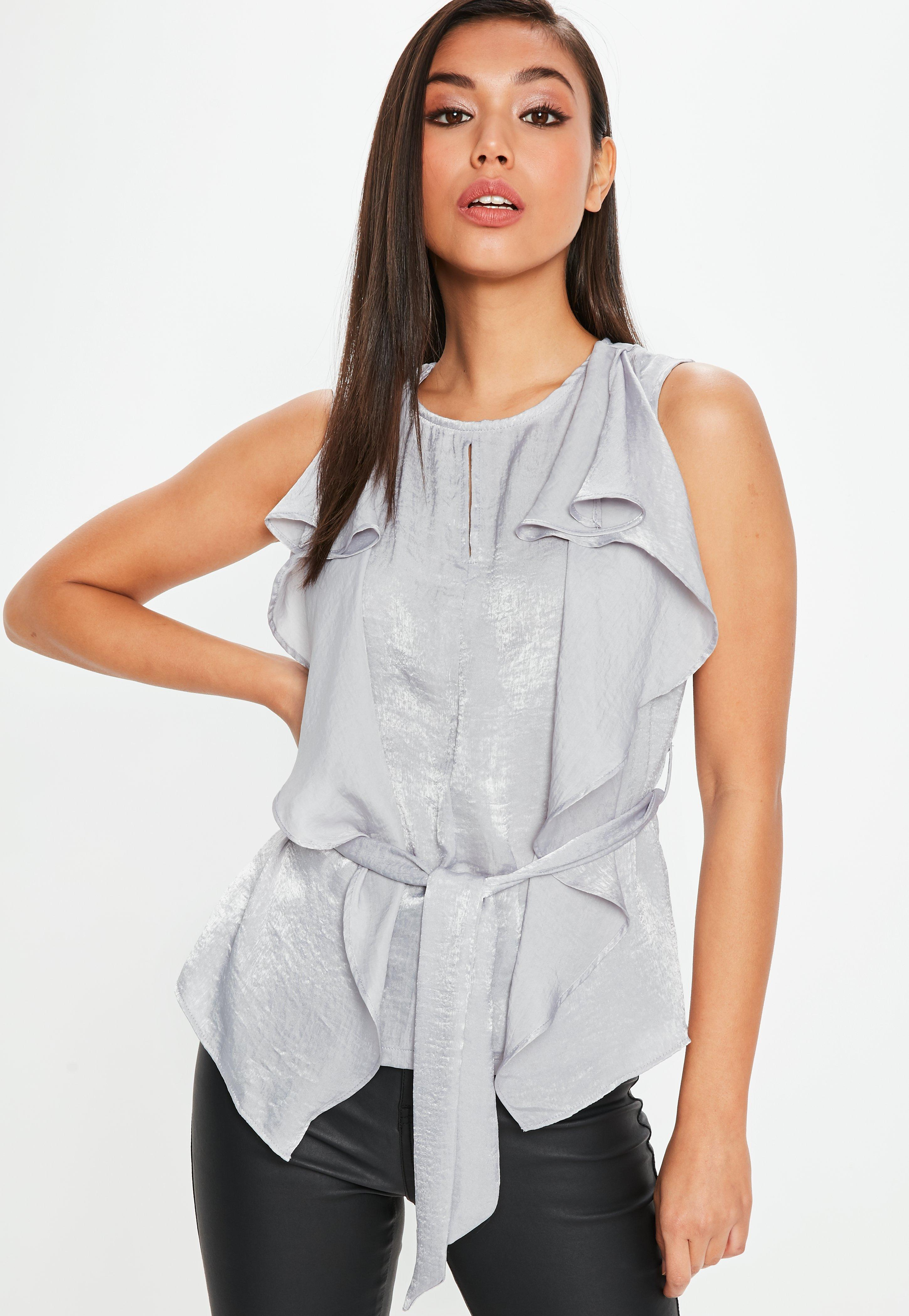Top Grey Sleeveless Satin Blouse | Missguided TD05