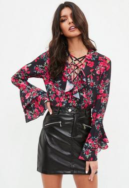 Black Rodeo Rose Lace Tie Frill Bodysuit